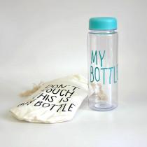 Бутылка для воды «MyBottle» с мешочком, 500 мл, бирюзовая прозрачная