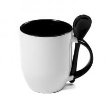 Кружка с ложкой конусная, черная