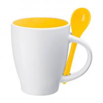 Кружка с ложкой конусная, жёлтая