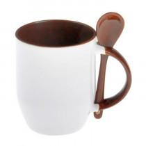 Кружка с ложкой конусная, коричневая