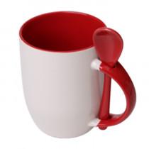 Кружка с ложкой конусная, красная