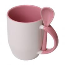 Кружка с ложкой конусная, розовая