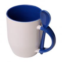 Кружка с ложкой конусная, синяя