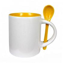 Кружка с ложкой стандарт, желтая