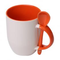 Кружка с ложкой конусная, оранжевая