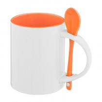Кружка с ложкой стандарт, оранжевая