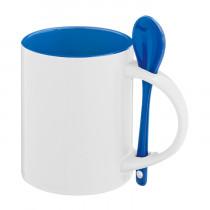 Кружка с ложкой стандарт, синяя