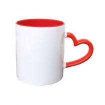 """Кружка с заливкой и цветной фигурной ручкой, красная """"Сердце"""""""