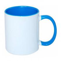 Кружка с заливкой и цветной ручкой, голубая