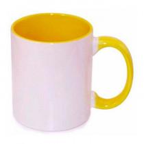 Кружка с заливкой и цветной ручкой, жёлтая