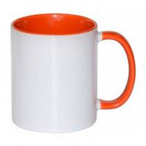 Кружка с заливкой и цветной ручкой, оранжевая