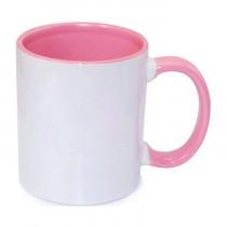 Кружка с заливкой и цветной ручкой, розовая