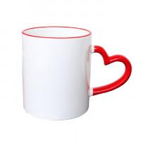 """Кружка с каемкой и цветной фигурной ручкой, красная """"Сердце"""""""
