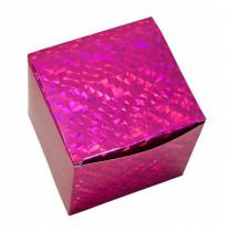 Подарочная коробка для кружки голографическая, малиновая