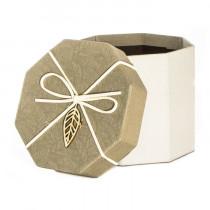 Подарочная упаковка с листом, восьмиугольная, коричнево-бежевая