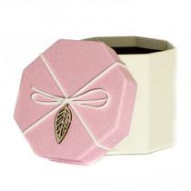 Подарочная упаковка с листом, восьмиугольная, розово-бежевая