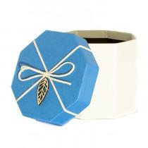 Подарочная упаковка с листом, восьмиугольная, голубо-бежевая