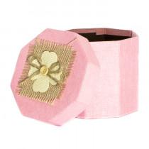 Подарочная упаковка с декором, восьмиугольная, розовая