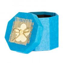 Подарочная упаковка с декором, восьмиугольная, голубая