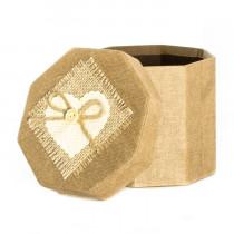 Подарочная упаковка с декором, восьмиугольная, коричневая