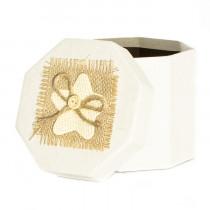 Подарочная упаковка с декором, восьмиугольная, бежевая