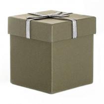 Подарочная упаковка с бантом, квадратная, коричневая