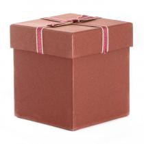 Подарочная упаковка с бантом, квадратная, бордовая