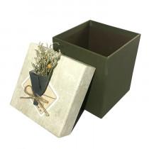 Подарочная упаковка с букетом, бежево-коричневая