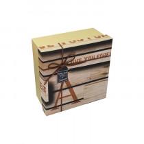 подарочная коробка голубая квадратная с бантом