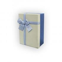 Подарочная коробка, бело-голубая с бантом, малая