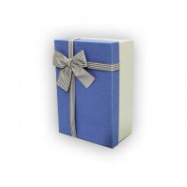 Подарочная коробка, голубо-белая с бантом, малая