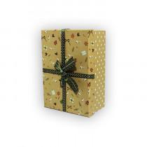 Подарочная коробка, желтая с зеленым бантом, малая