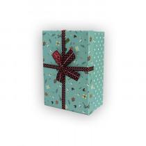 Подарочная коробка, зеленая с коричневым бантом, малая