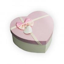 Подарочная с бантом в форме сердца розово-белая, маленькая