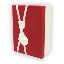 Подарочная коробка, красно-белая, с бантом большая