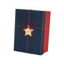 Подарочная коробка со звездой, сине-красная, средняя
