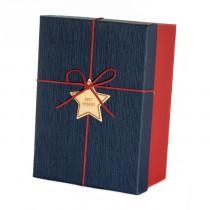 Подарочная коробка со звездой, сине-красная, большая