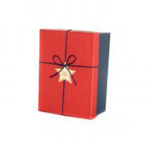 Подарочная коробка со звездой, красно-синяя, малая