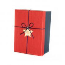 Подарочная коробка со звездой, красно-синяя, средняя