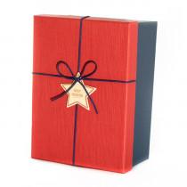 Подарочная коробка со звездой, красно-синяя, большая