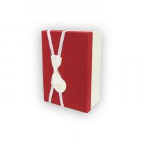 Подарочная коробка, красно-белая с бантом, малая