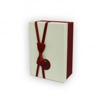 Подарочная коробка, бело-красная с бантом, малая