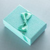 Ювелирная коробка под серьги, подвески с бантом, светло-голубая