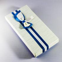 Ювелирная коробка под браслет, цепочку, часы с тонким бантом, сине-бежевая