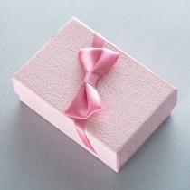 Ювелирная коробка под серьги, подвески с бантом, розовая