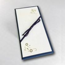 Ювелирная коробка под браслет, цепочку, часы с тонким бантом, бежево-синяя