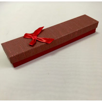 Ювелирная коробка под браслет, цепочку, с тонким бантом, часы бордовая.