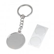Брелок «Круг» с бортиком и линзой, серебро