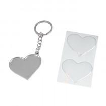 Брелок «Сердце» с бортиком и линзой, серебро